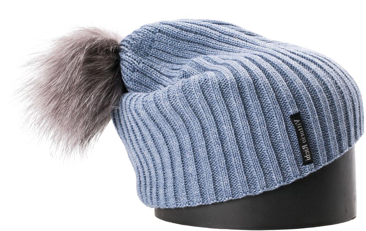 Шапка женская Vittorio Richi, цвет: голубой. NSH900522. Размер 56/58NSH900522Стильная женская шапка Vittorio Richi отлично дополнит ваш образ в холодную погоду. Модель, изготовленная из шерсти с добавлением акрила, максимально сохраняет тепло и обеспечивает удобную посадку. Шапка дополнена помпоном из меха и сбоку фирменной нашивкой. Привлекательная стильная шапка подчеркнет ваш неповторимый стиль и индивидуальность.