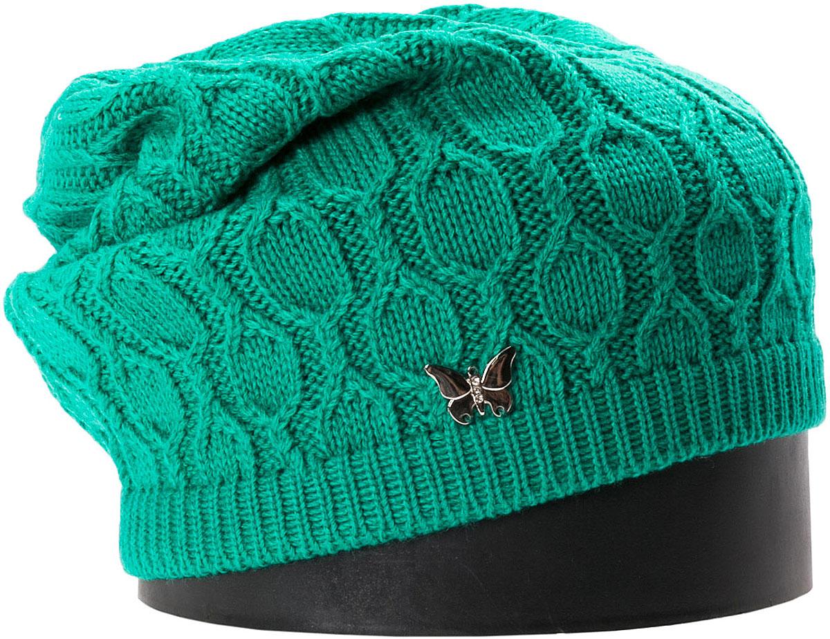 Шапка женская Vittorio Richi, цвет: зеленый. NSH415028. Размер 56/58NSH415028Стильная женская шапка Vittorio Richi отлично дополнит ваш образ в холодную погоду. Модель, изготовленная из шерсти с добавлением акрила, максимально сохраняет тепло и обеспечивает удобную посадку. Шапка дополнена сбоку декоративной бабочкой. Привлекательная стильная шапка подчеркнет ваш неповторимый стиль и индивидуальность.