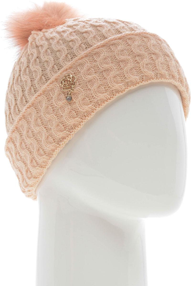 Шапка женская Vittorio Richi, цвет: персиковый. NSH7800176. Размер 58/60 шапка женская vittorio richi цвет коралловый nsh170778 размер 58 60