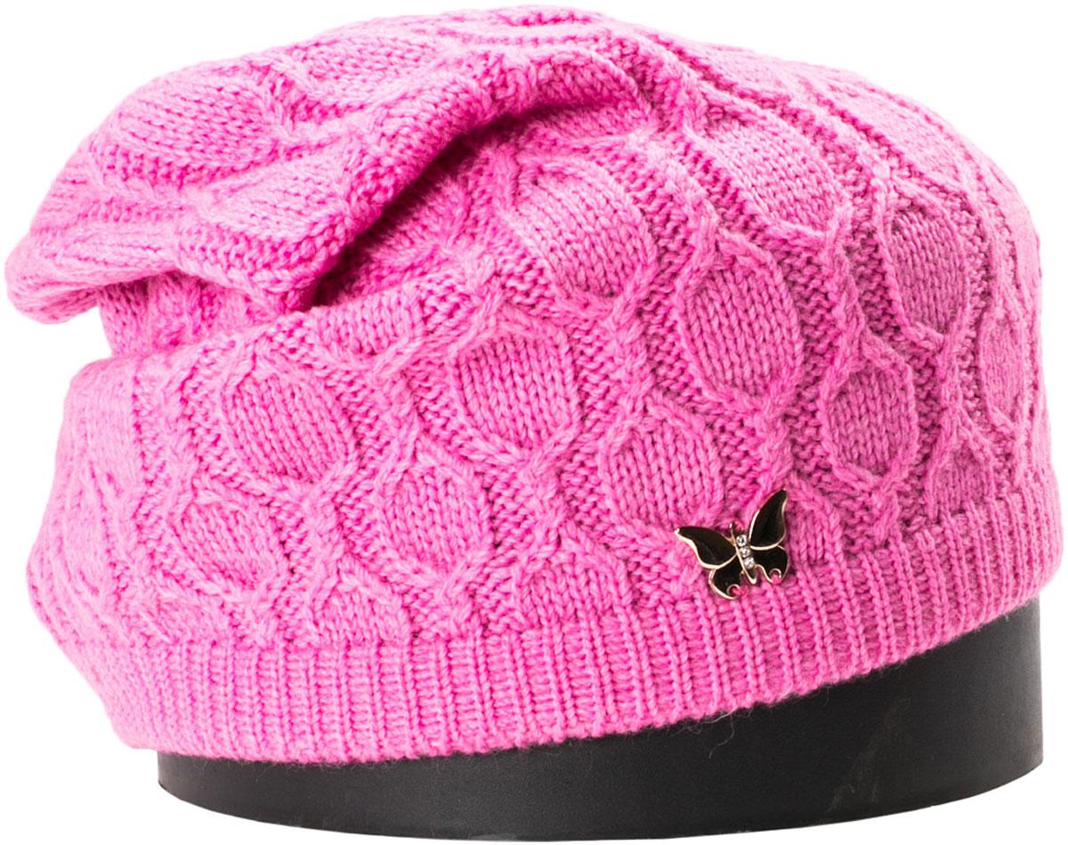 Шапка женская Vittorio Richi, цвет: розовый. NSH415070. Размер 56/58NSH415070Стильная женская шапка Vittorio Richi отлично дополнит ваш образ в холодную погоду. Модель, изготовленная из шерсти с добавлением акрила, максимально сохраняет тепло и обеспечивает удобную посадку. Шапка дополнена сбоку декоративной бабочкой. Привлекательная стильная шапка подчеркнет ваш неповторимый стиль и индивидуальность.
