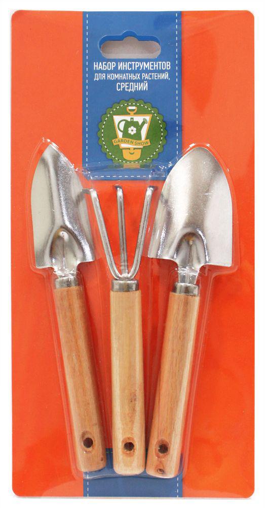 Набор инструментов для комнатных растений Garden Show, средний, 3 предмета466382Набор инструментов для комнатных растений Garden Show включает 2 совка (с узкой и широкой рабочей поверхностью) и грабли. Рабочая поверхность выполнена из металла, а ручки - из натуральной сосны. Отверстия на ручках позволяют подвесить инструменты на крючок. Такой набор отлично подойдет для ухода за комнатными растениями.Длина грабель: 17 см.Длина совков: 19 см.