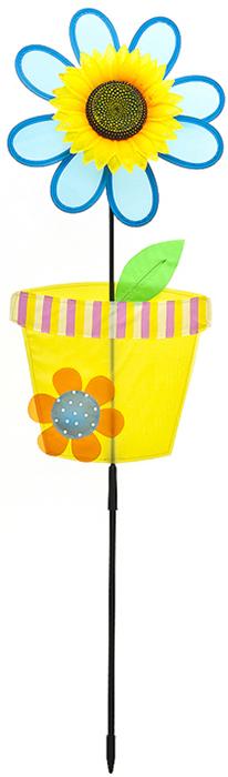 """Ветряная фигурка-вертушка Village People """"Цветок в горшочке"""" - это не только любимая всеми игрушка, но и замечательный способ отпугнуть птиц с грядок. Идеально подходит для декорирования садового участка, грядок и клумб. Изделие выполнено из нейлона и располагается на пластиковой палочке. Яркий дизайн изделия оживит ландшафт сада. Высота: 90 см. Диаметр вертушки: 25 см."""