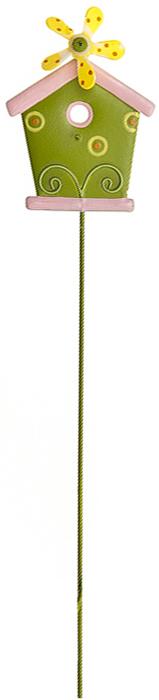 Украшение на ножке Village People Домик с флюгером, цвет: зеленый, высота 30 см украшение на ножке village people приветливая бабочка высота 50 см