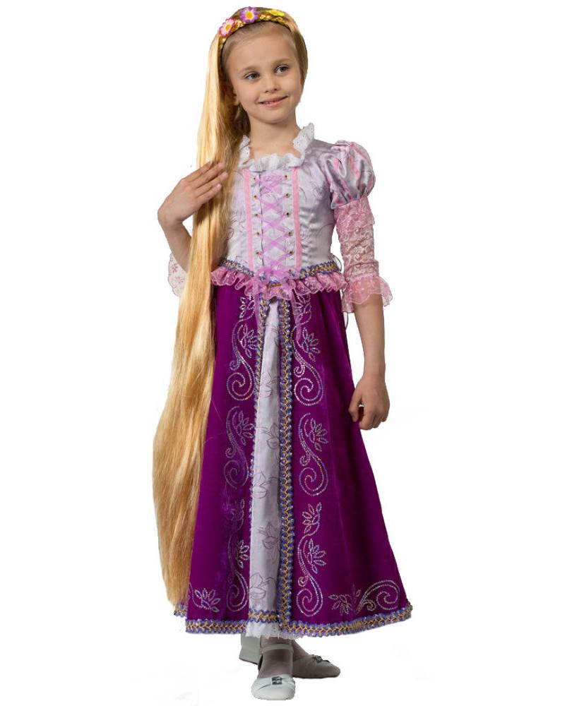 Батик Костюм карнавальный для девочки Принцесса Рапунцель цвет сиреневый фиолетовый размер 32