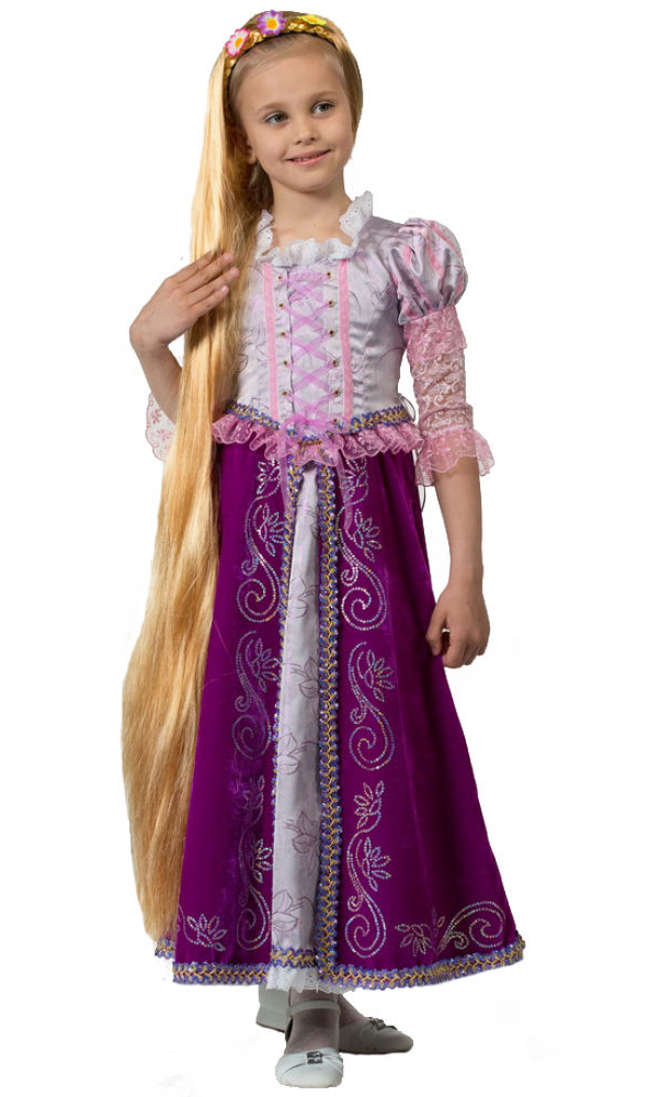 Батик Костюм карнавальный для девочки Принцесса Рапунцель цвет сиреневый фиолетовый размер 38