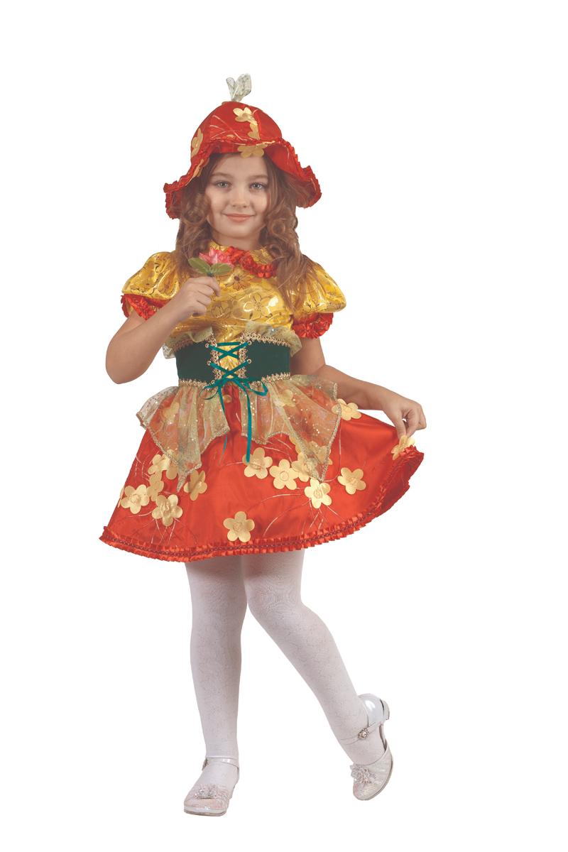 Батик Костюм карнавальный для девочки Дюймовочка цвет красный золотистый размер 34 колокольчик карнавальный костюм