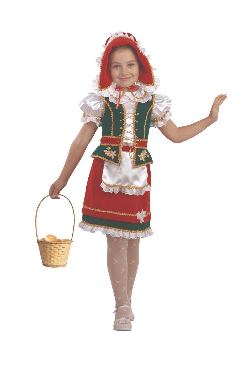 Батик Костюм карнавальный для девочки Красная Шапочка цвет красный зеленый белый размер 30 костюм стройной красной шапочки 46