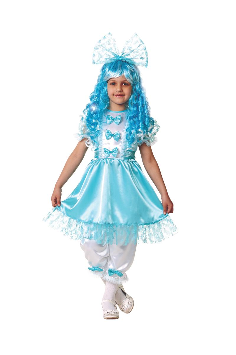 Батик Костюм карнавальный для девочки Мальвина цвет голубой белый размер 34 batik batik халат махровый голубой