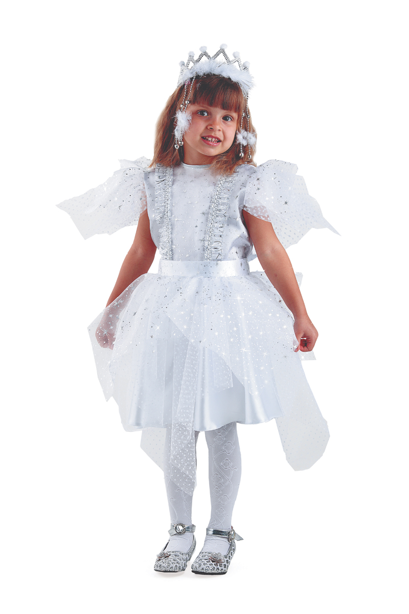 Батик Костюм карнавальный для девочки Снежинка Серебряная размер 36 батик карнавальный костюм для девочки снежинка размер 30