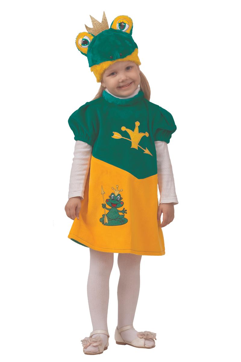 Батик Костюм карнавальный для девочки Царевна-лягушка цвет зеленый оранжевый размер 28 батик карнавальный костюм для девочки снежинка размер 28