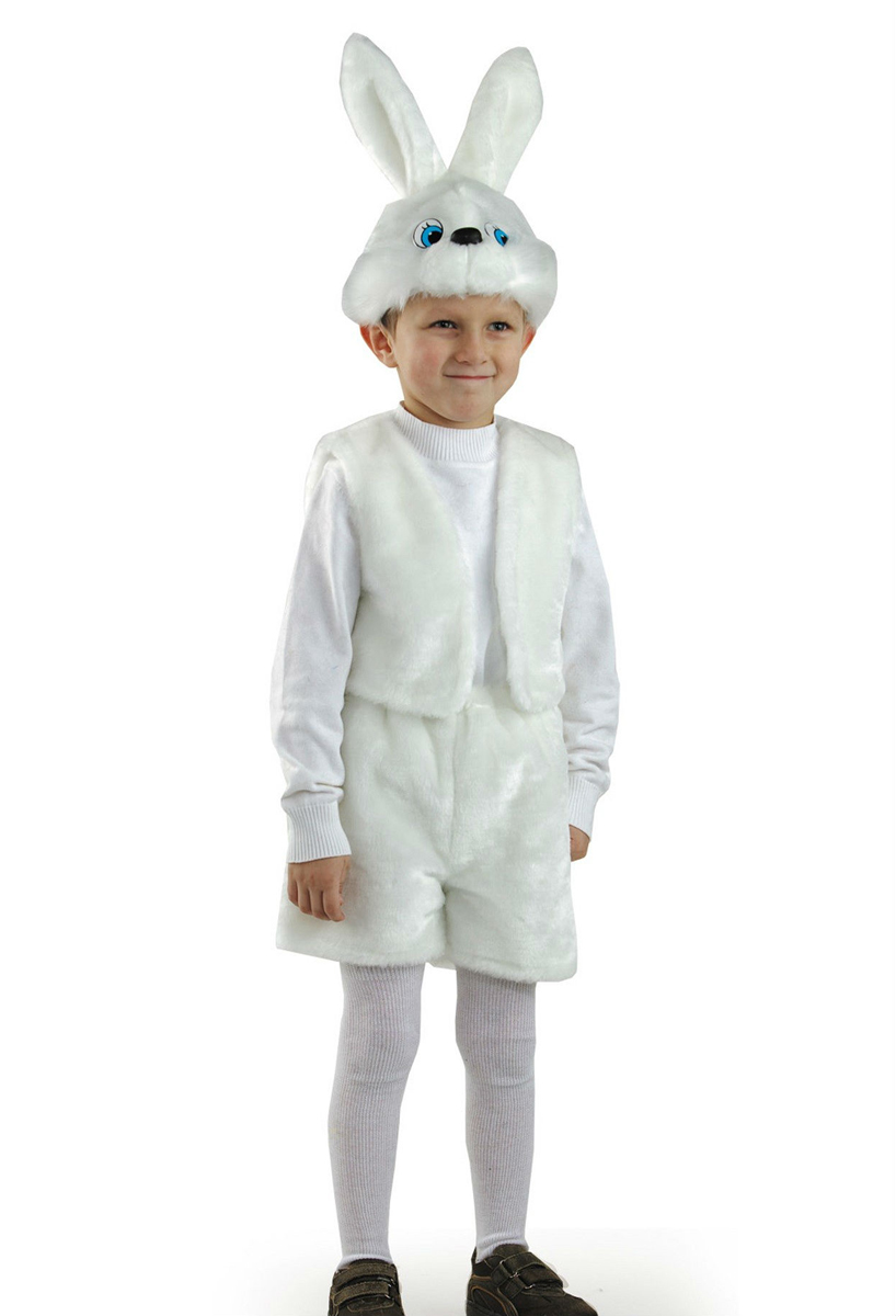 Батик Костюм карнавальный для мальчика Заяц цвет белый размер 28