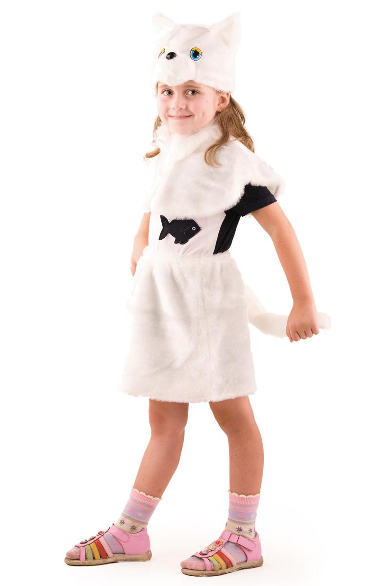 Батик Костюм карнавальный для девочки Кошка цвет белый размер 28 карнавальные костюмы batik карнавальный костюм