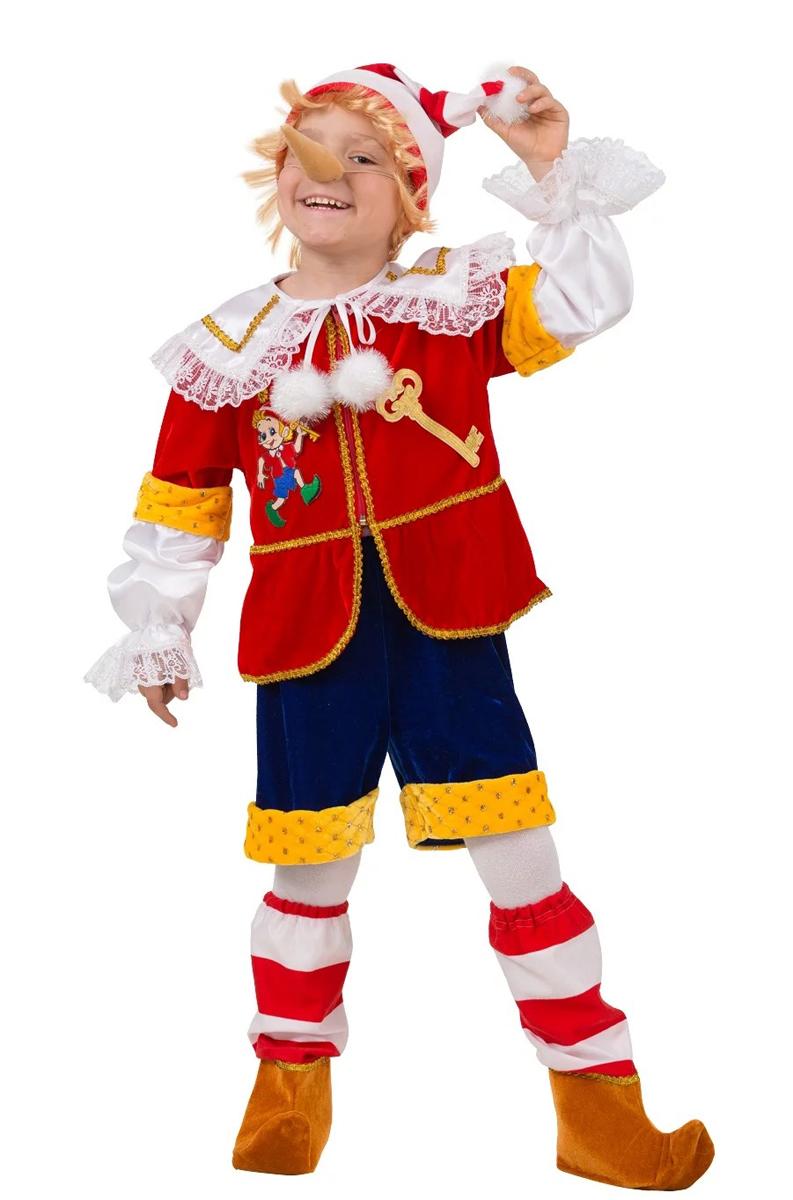 Батик Костюм карнавальный для мальчика Буратино цвет красный синий белый желтый размер 28 - Карнавальные костюмы и аксессуары