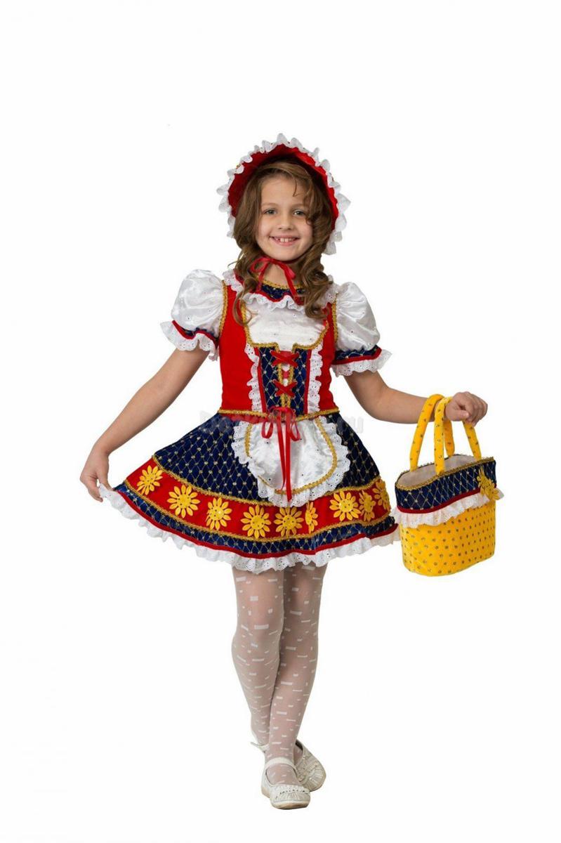 Батик Костюм карнавальный для девочки Красная Шапочка цвет красный синий белый размер 32 костюм стройной красной шапочки 46