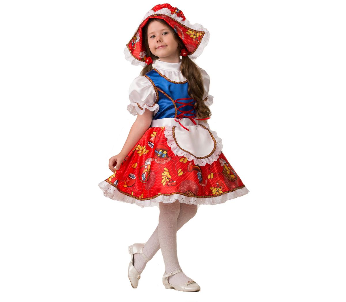 Батик Костюм карнавальный для девочки Красная Шапочка сказочная размер 34 батик карнавальный костюм для девочки снежинка размер 32