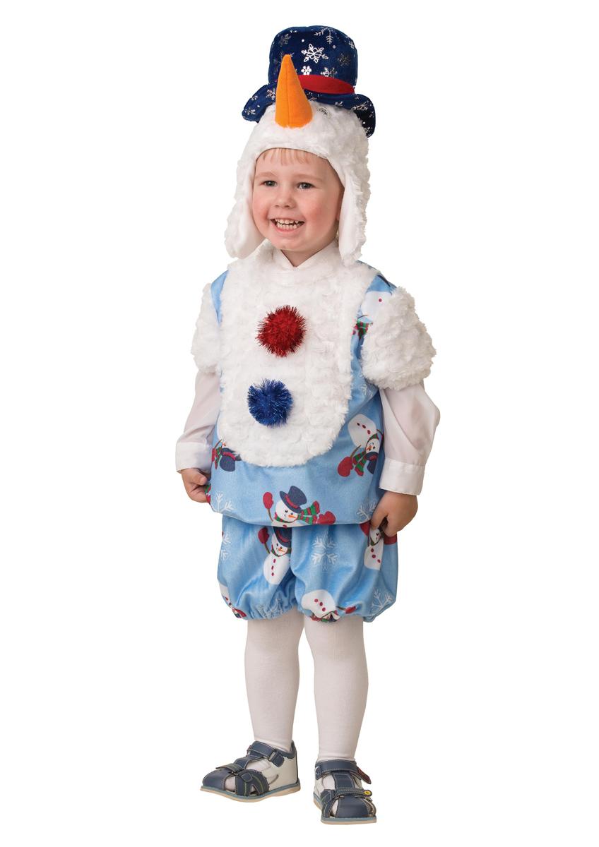 Батик Костюм карнавальный для мальчика Снеговичок Снежник размер 28 батик костюм карнавальный для мальчика римский воин размер 38