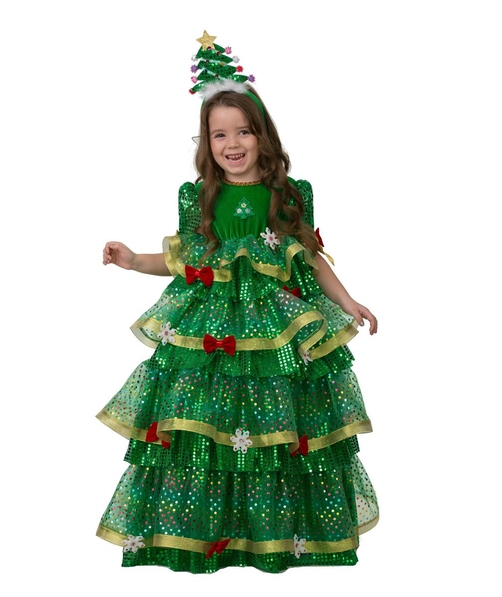 Батик Костюм карнавальный для девочки Елочка-Царица размер 28 батик карнавальный костюм для девочки снежинка размер 28