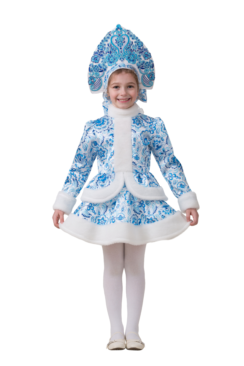 Батик Костюм карнавальный для девочки Снегурочка Гжель размер 38 батик костюм карнавальный для мальчика римский воин размер 38