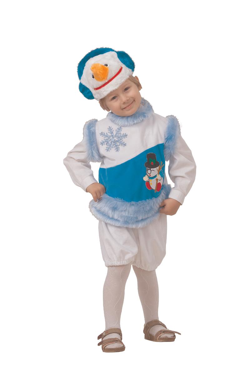 Батик Костюм карнавальный для мальчика Снеговик снежный размер 28 детский костюм дарт мола 28 30