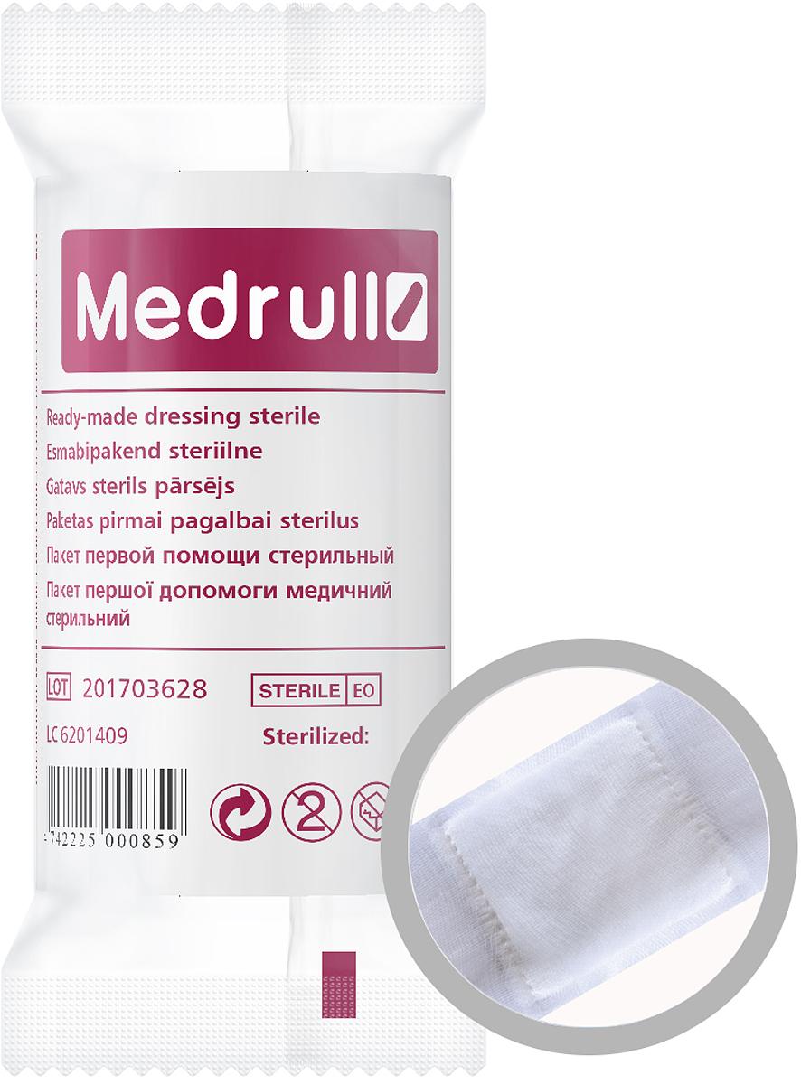 Medrull Бинт марлевый фиксирующий стерильный с ватной подушечкой4742225000859Пакет первой помощи стерильный, без обработанных краев. Состав: 100% хлопок. Структура материала: 17 ниток на квабратный сантиметр. Упакован в индивидуальную упаковку.