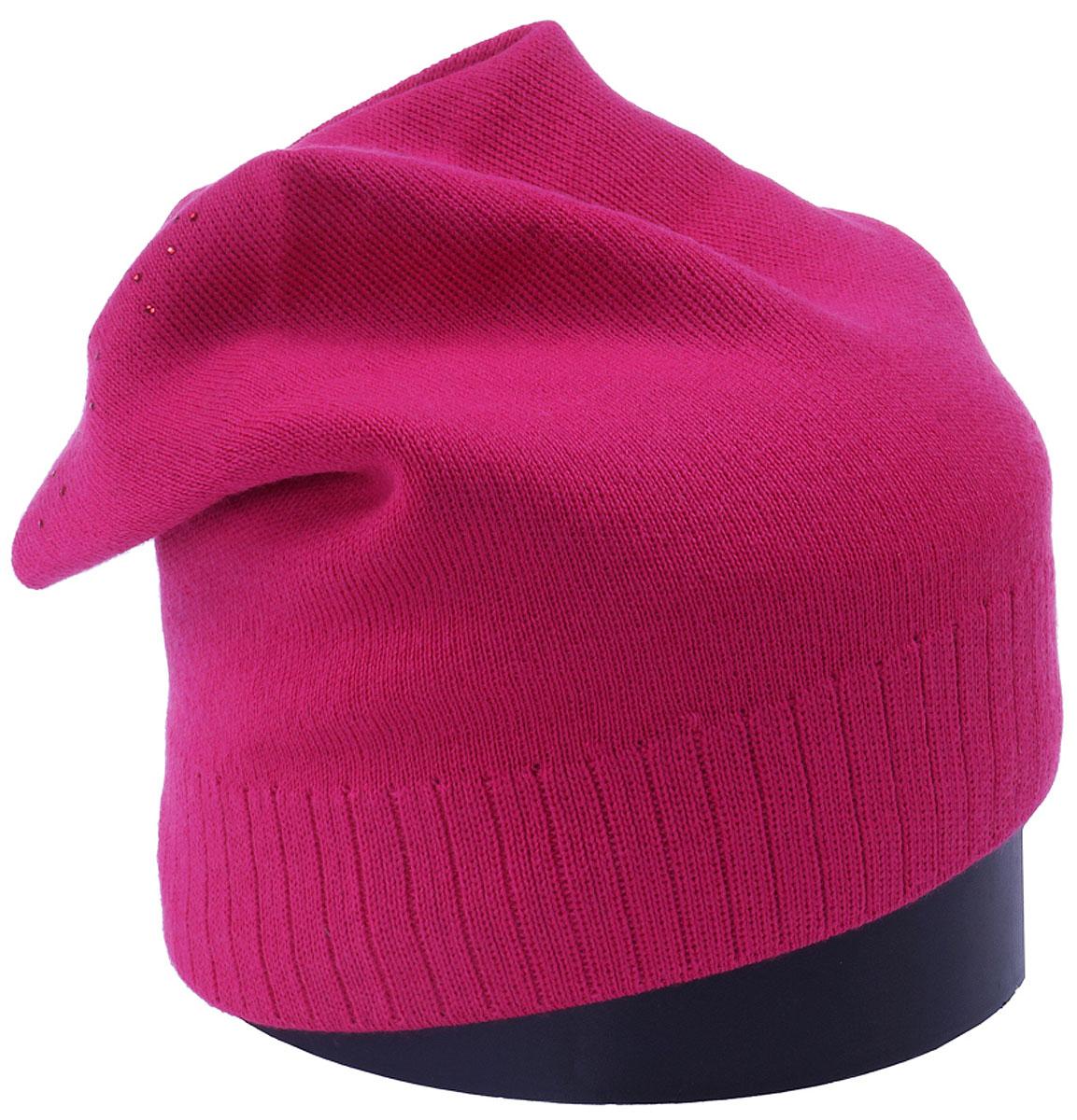 Шапка женская Vittorio Richi, цвет: фуксия. Aut141902C-15/17. Размер 56/58Aut141902CУдлиненная женская шапка Vittorio Richi отлично дополнит ваш образ в холодную погоду. Модель, изготовленная из шерсти с добавлением полиамида, максимально сохраняет тепло и обеспечивает удобную посадку. Шапка декорирована сзади узором из страз. Привлекательная стильная шапка подчеркнет ваш неповторимый стиль и индивидуальность.