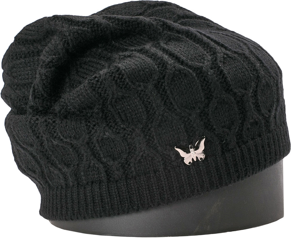 Шапка женская Vittorio Richi, цвет: черный. NSH415001. Размер 56/58NSH415001Стильная женская шапка Vittorio Richi отлично дополнит ваш образ в холодную погоду. Модель, изготовленная из шерсти с добавлением акрила, максимально сохраняет тепло и обеспечивает удобную посадку. Шапка дополнена сбоку декоративной бабочкой. Привлекательная стильная шапка подчеркнет ваш неповторимый стиль и индивидуальность.