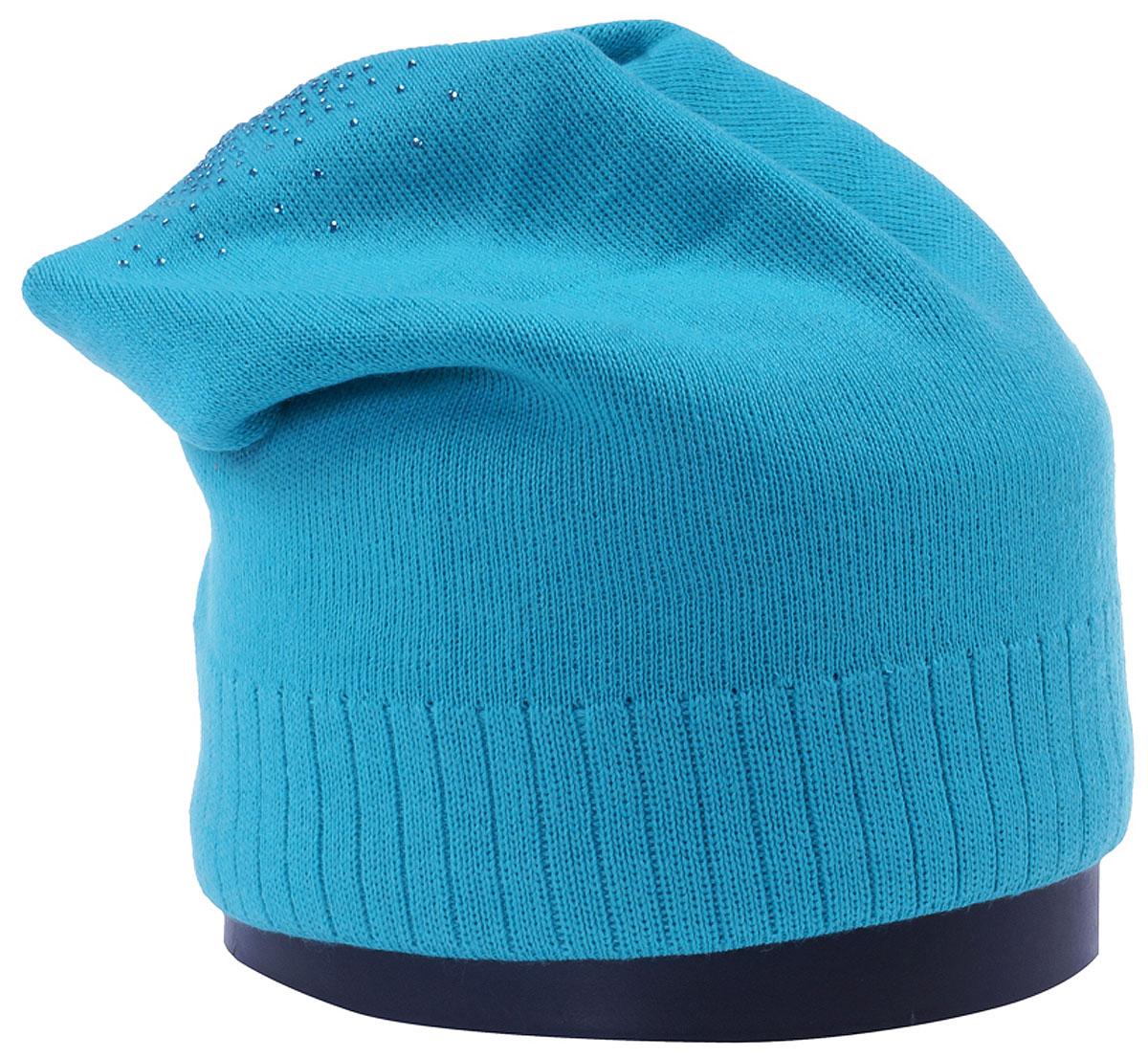 Шапка женская Vittorio Richi, цвет: ярко-бирюзовый. Aut141902C-89/17. Размер 56/58Aut141902CУдлиненная женская шапка Vittorio Richi отлично дополнит ваш образ в холодную погоду. Модель, изготовленная из шерсти с добавлением полиамида, максимально сохраняет тепло и обеспечивает удобную посадку. Шапка декорирована сзади узором из страз. Привлекательная стильная шапка подчеркнет ваш неповторимый стиль и индивидуальность.