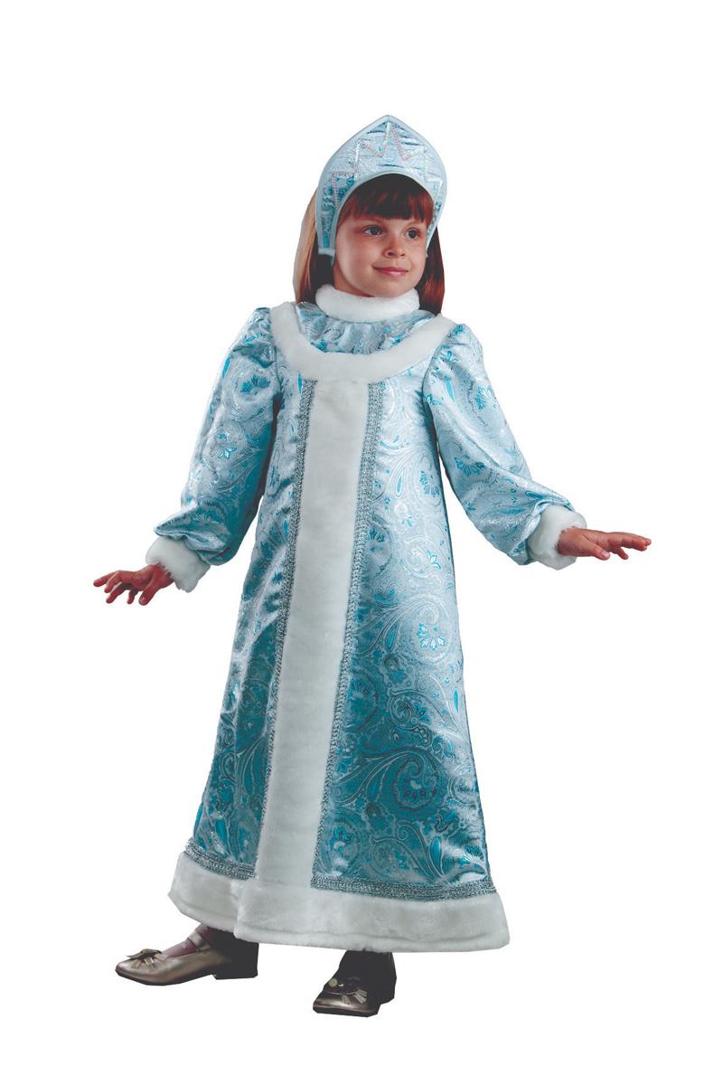 Батик Костюм карнавальный для девочки Снегурочка цвет голубой белый размер 34 batik batik халат махровый голубой