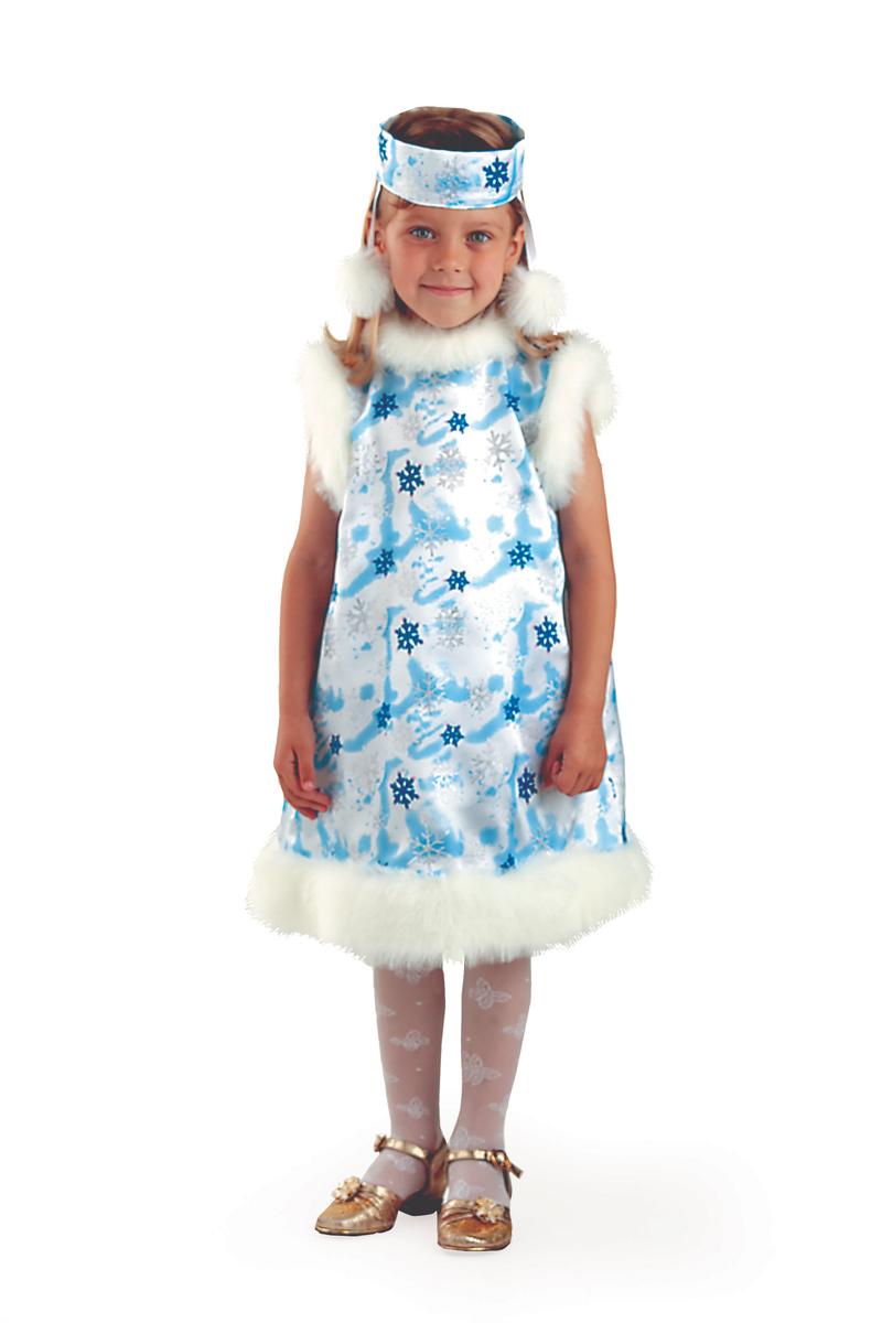 Батик Костюм карнавальный для девочки Снежинка цвет белый голубой размер 34 батик карнавальный костюм для девочки снежинка размер 30