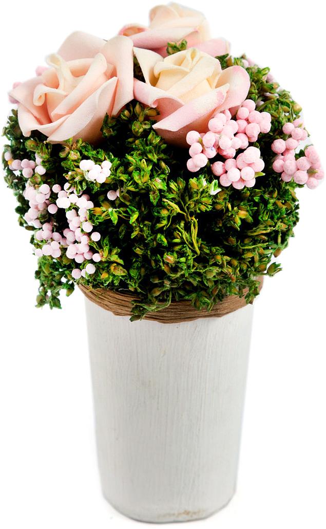Композиция цветочная, диаметр 9 см, 14 см, цвет: светло-розовый79054Товары для украшения интерьера