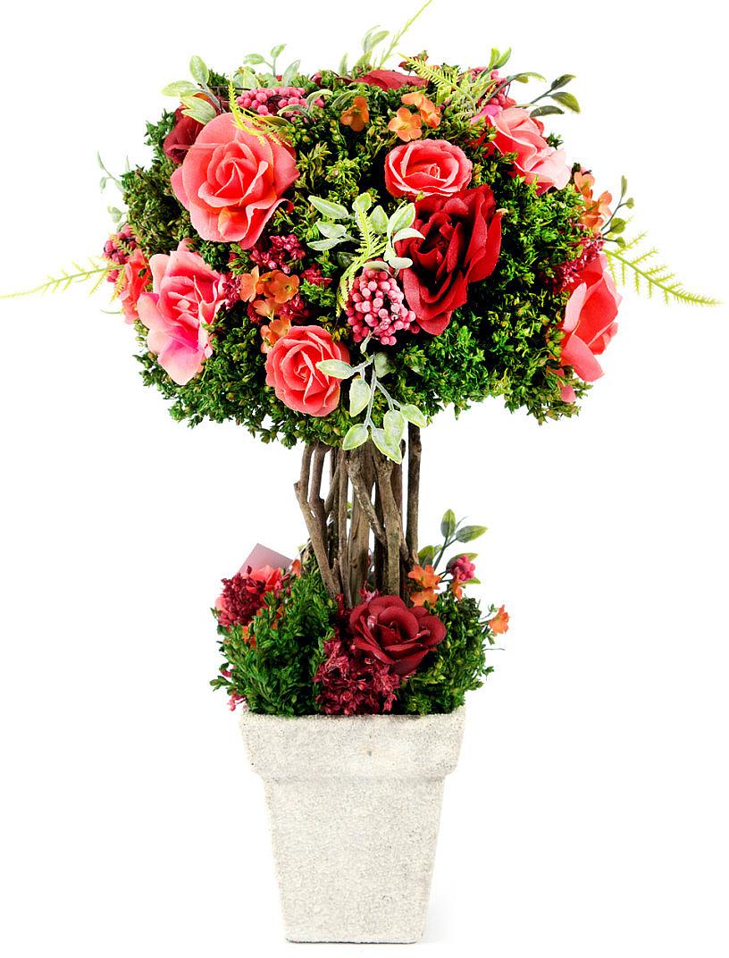 Композиция цветочная, 18 x 18 x 34 см, цвет: розовый79060Цветочная композиция NoName - это прекрасная возможность украсить, оживить любой интерьер.