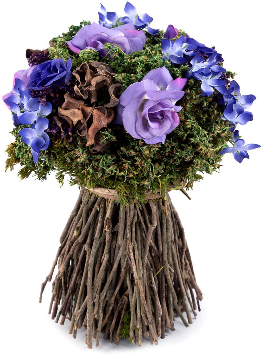 Композиция цветочная, диаметр 18 см, 25 см, цвет: сиреневый79066Цветочная композиция NoName - это прекрасная возможность украсить, оживить любой интерьер.