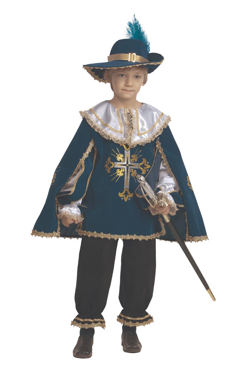 Батик Костюм карнавальный для мальчика Мушкетер цвет синий черный размер 40