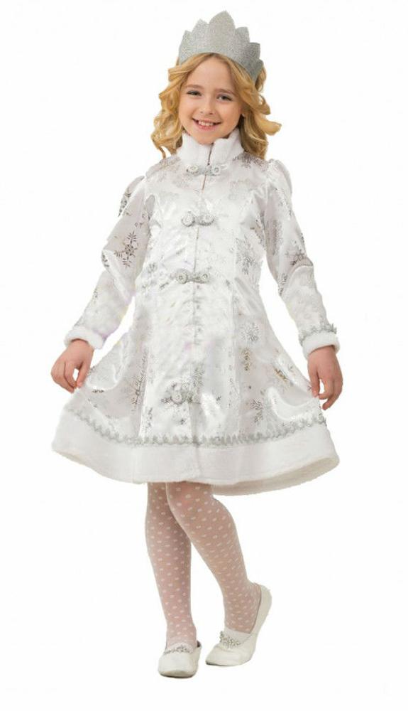 Батик Костюм карнавальный для девочки Снегурочка цвет белый серебристый размер 34 карнавальные костюмы batik карнавальный костюм