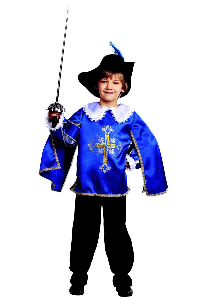 Батик Костюм карнавальный для мальчика Мушкетер цвет синий черный белый размер 28