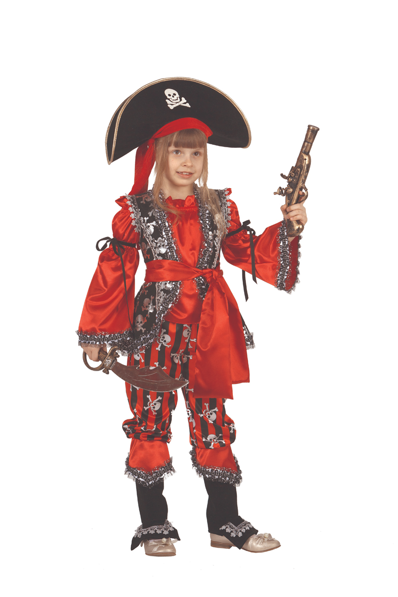 Батик Костюм карнавальный для девочки Атаманша размер 32 костюм озорного клоуна детский 32 34