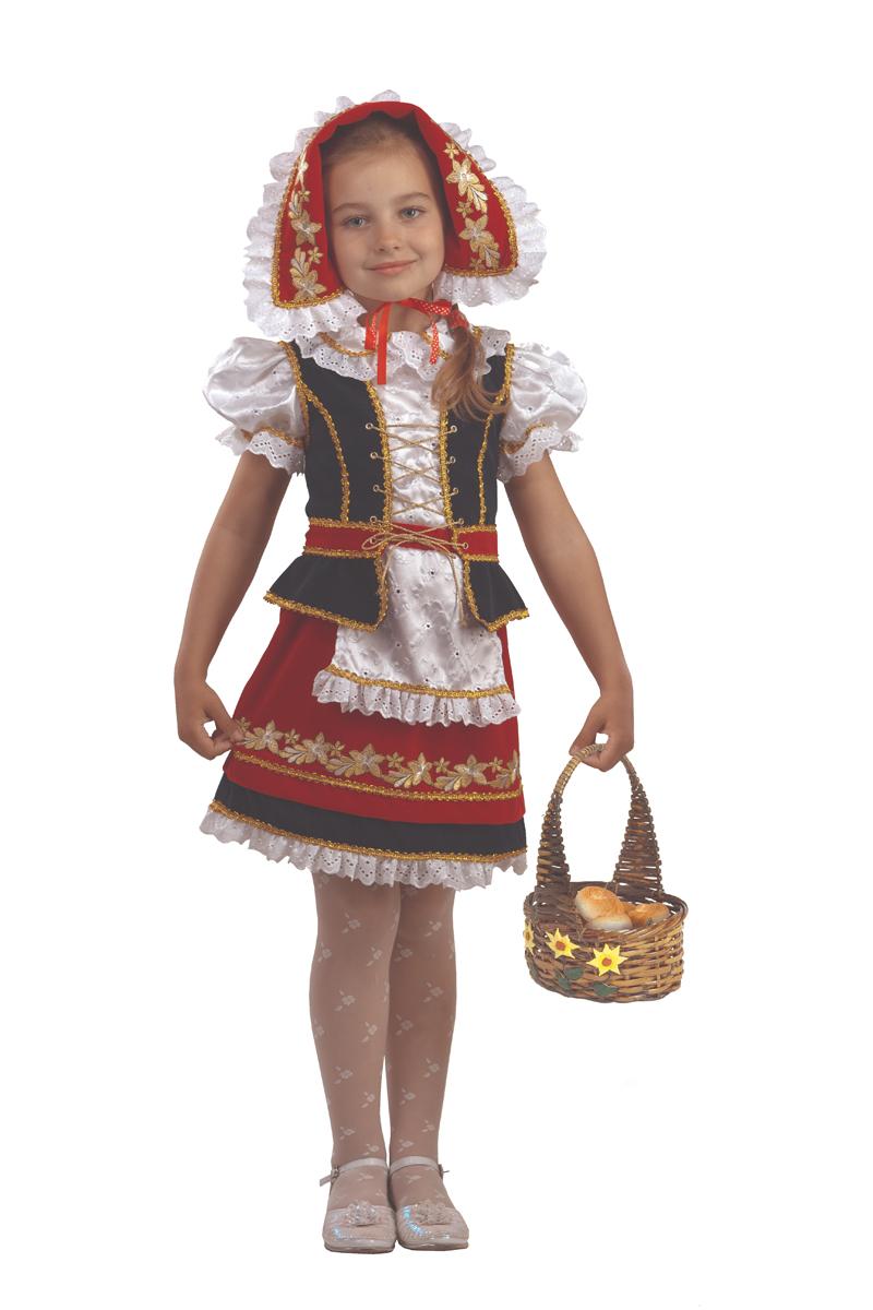 Батик Костюм карнавальный для девочки Красная Шапочка цвет красный черный белый размер 36 костюм красной шапочки конфетки 40 44