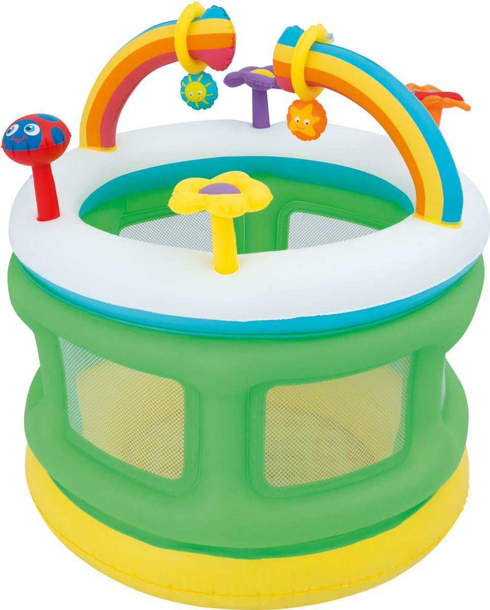 Bestway Манеж надувной Радуга52221Надувной манеж с игрушками - это первый гимнастический зал для вашего ребенка, имеющий мягкий надувной пол-батут. Нижняя часть отделана мягкими бортами. Мягкий надувной пол и боковинки обеспечат безопасность вашему малышу. Манеж быстро надувается, изготовлен из прочного винила. В боковых стенках есть сетчатые окошки для наблюдения за малышом.Максимальный вес пользователя: 30 кг.Характеристики товара:Висячие игрушкиСетчатые полупрозрачные стенкиМягкие надувные аркиМягкий, надувной пол для дополнительного комфортаРемонтный комплект. Способы ухода: чистка производится с помощью мягкой губки, естественная сушка. Условия хранения: в сухом помещении, при комнатной температуре.
