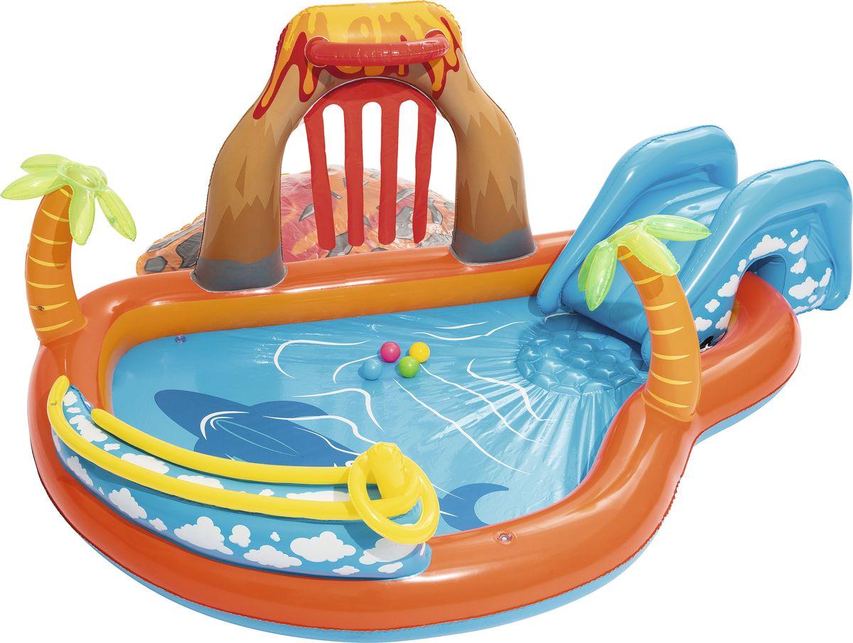 Bestway Бассейн надувной Вулкан с аксессуарами53069Надувной бассейн Bestway Вулкан предназначен для детского и семейного отдыха. Выполнен из прочного винила.Бассейн оборудован съемной горкой со встроенными кольцами и шнурами для привязывания ее к бассейну. Мини-горочка устанавливается над бортиком бассейна, и малыши съезжают с небольшого спуска прямо в воду. Предусмотрена надувная подушка для дополнительного удобства. Подключите бассейн к садовому шлангу и на детей будет литься водичка, что вдвойне весело и интересно! Надувные игровые мячи создадут наибольший интерес.Вода из бассейна спускается с помощью простого в использовании сливного клапана. В комплект с бассейном входит специальная заплата для ремонта изделия в случае прокола.Расчетный объем бассейна: 208 литра. Размер бассейна: 265 х 265 х 104 см.Способы ухода: чистка производится с помощью мягкой губки, естественная сушка. Условия хранения: в сухом помещении, при комнатной температуре.