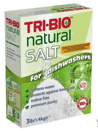 Соль для посудомоечных машин Tri-Bio, натуральная, 1,4 кг0330Специальная соль Tri-Bio, без йода, смягчает воду и защищает от известкового налета. Эффективно оберегает посудомоечную машину, продлевает срок ее службы и предотвращает образование разводов на посуде и стаканах. Никогда не используйте другие виды солей, включая поваренную, морскую, кулинарную и т.п. Эти типы соли могут серьезно повредить вашу машину. Чтобы ваша посудомоечная машина безупречно работала, обязательно используйте специальную соль, если в вашем доме не стоит хороший смягчитель воды. Для здоровья: Средство без фосфатов, без растворителей, без хлора отбеливающих веществ, без абразивных веществ, без отдушек, без красителей, без токсичных веществ, нейтральный pH, Гипоаллергенно. Безопасная альтернатива химическим аналогам.Присвоен сертификат. Рекомендуется для людей, склонных к аллергическим реакциям и страдающих астмой.Для окружающей среды: Низкий уровень ЛОС, легко биоразлагаемо, минимальное влияние на водные организмы, рециклируемые упаковочные материалы, не испытывалось на животных.Особо рекомендуется использовать в домах с автономной канализацией.Применение: Откройте дверцу посудомоечной машины, вытяните нижнюю корзину, откройте крышку контейнера соли и засыпьте соль. Затем поместите крышку обратно и закройте ее. Или используйте согласно инструкциям изготовителя посудомоечной машины.Состав: Sodium chloride. Сертификат Eco Green Label.Товар сертифицирован.