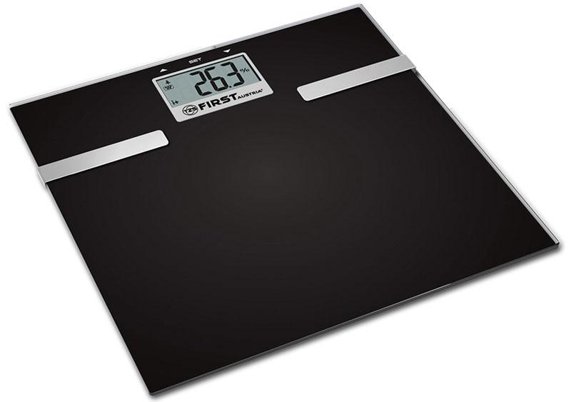 First FA-8006-3, Black напольные весыFA-8006-3-BAНапольные электронные весы First FA-8006-3 - неотъемлемый атрибут здорового образа жизни. Они необходимы тем, кто следит за своим здоровьем, весом, ведет активный образ жизни, занимается спортом и фитнесом. Очень удобны для будущих мам, постоянно контролирующих прибавку в весе, также рекомендуются родителям, внимательно следящим за весом своих детей.