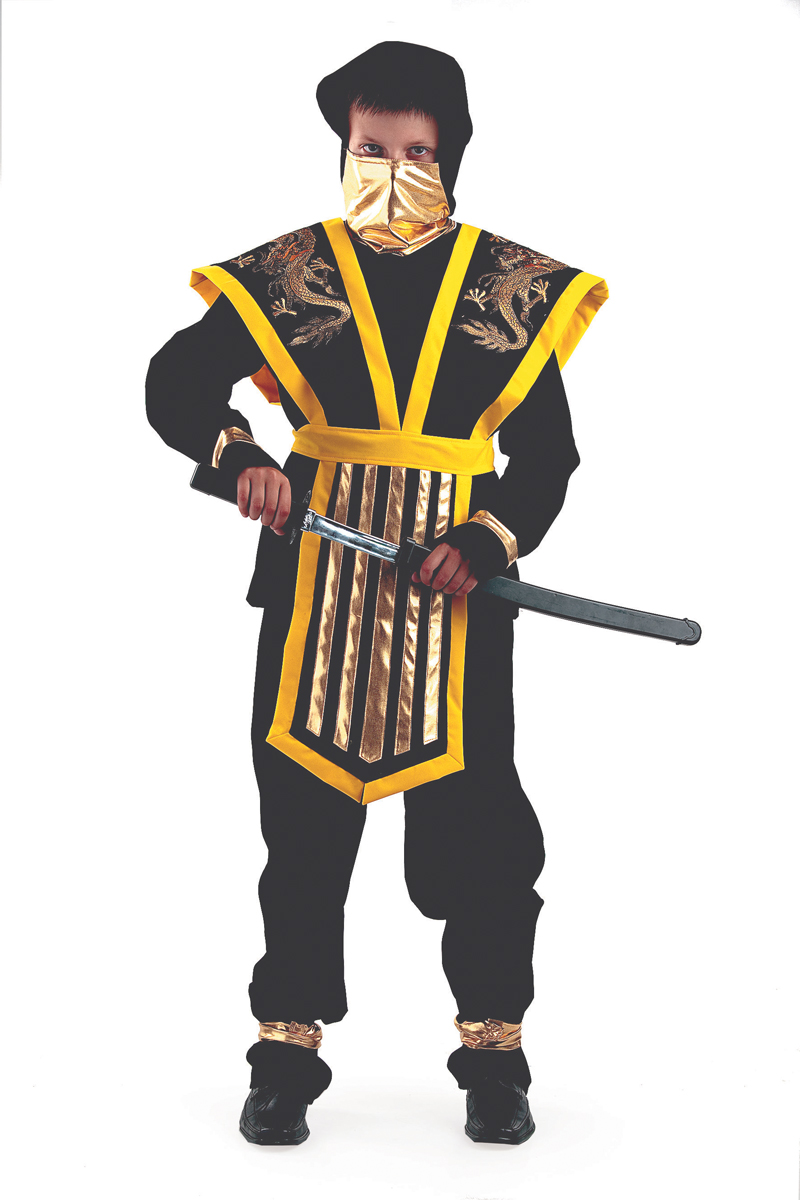 Батик Костюм карнавальный для мальчика Мастер Ниндзя цвет желтый размер 40 костюм зловещего шута детский 38 40