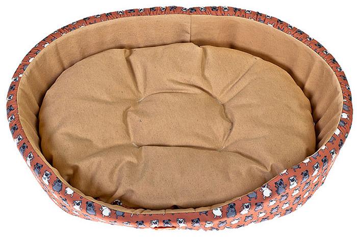 Лежак для животных Happy Puppy Мопсик, 57 x 39 x 15 см