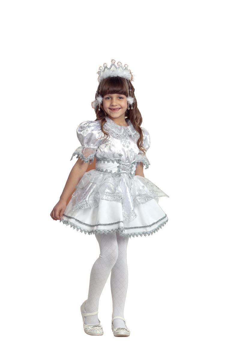 Батик Костюм карнавальный для девочки Снежинка цвет белый серебристый размер 32 - Карнавальные костюмы и аксессуары