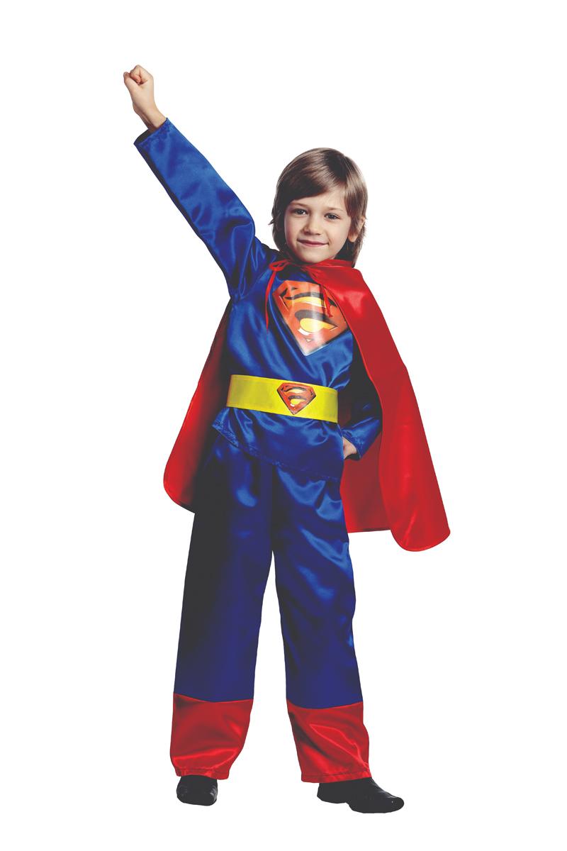 Батик Костюм карнавальный для мальчика Супермен цвет синий красный размер 40 детский костюм супермен 30