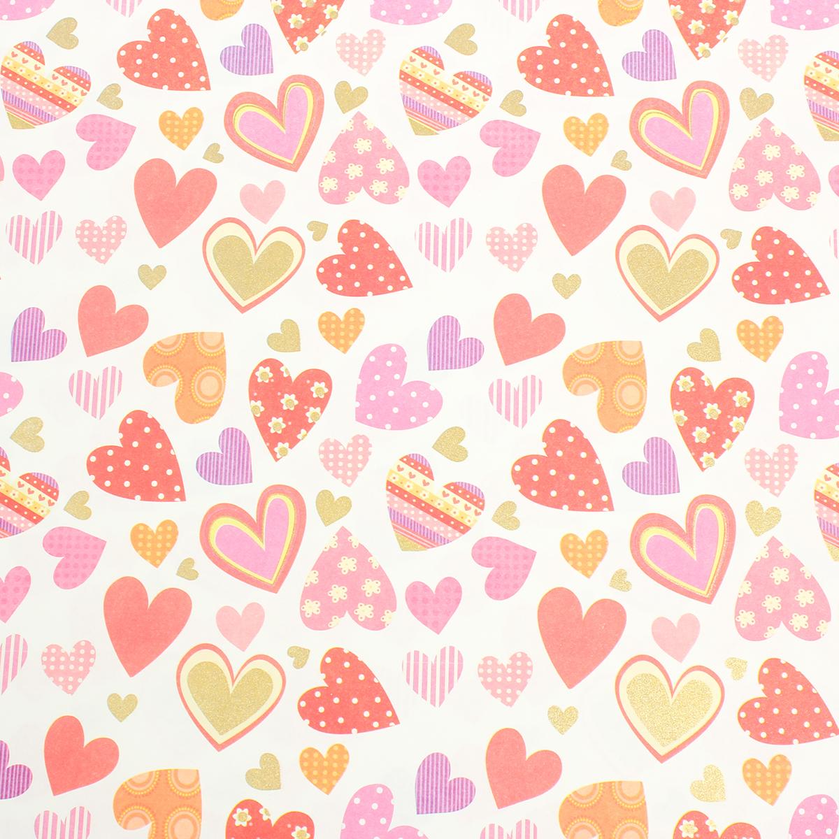Бумага упаковочная Разноцветные сердца, 50 х 70 см. 26769532576259Любой подарок начинается с упаковки. Что может быть трогательнее и волшебнее, чем ритуал разворачивания полученного презента. И именно оригинальная, со вкусом выбранная упаковка выделит ваш подарок из массы других. Она продемонстрирует самые тёплые чувства к виновнику торжества и создаст сказочную атмосферу праздника.