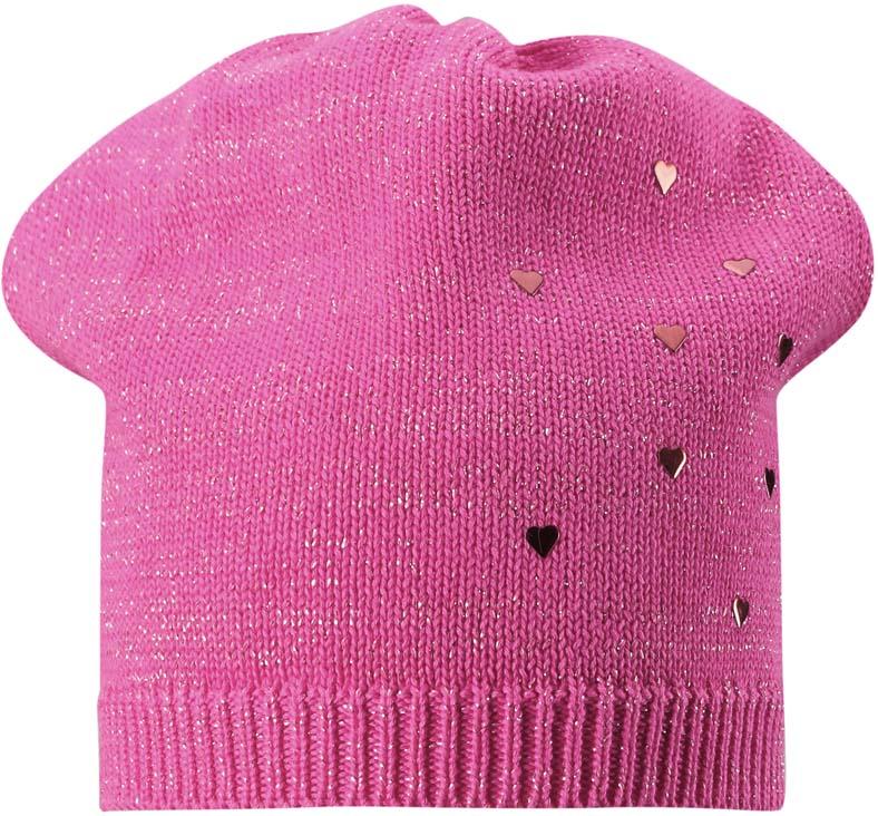 Шапка для девочки Lassie, цвет: розовый. 7287324400. Размер 54/567287324400Теплая детская шапка-бини Lassie связана из хлопковой пряжи с люрексом. Изделие оформлено декоративными металлическими элементами в виде сердечек.
