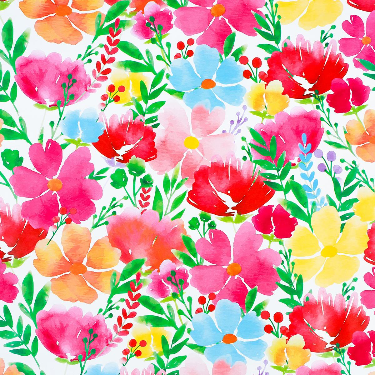 Бумага упаковочная Дарите счастье Акварельные цветы, глянцевая, 70 х 100 см. 2924089 бумага упаковочная дарите счастье золотые шары глянцевая 70 х 100 см 2739451
