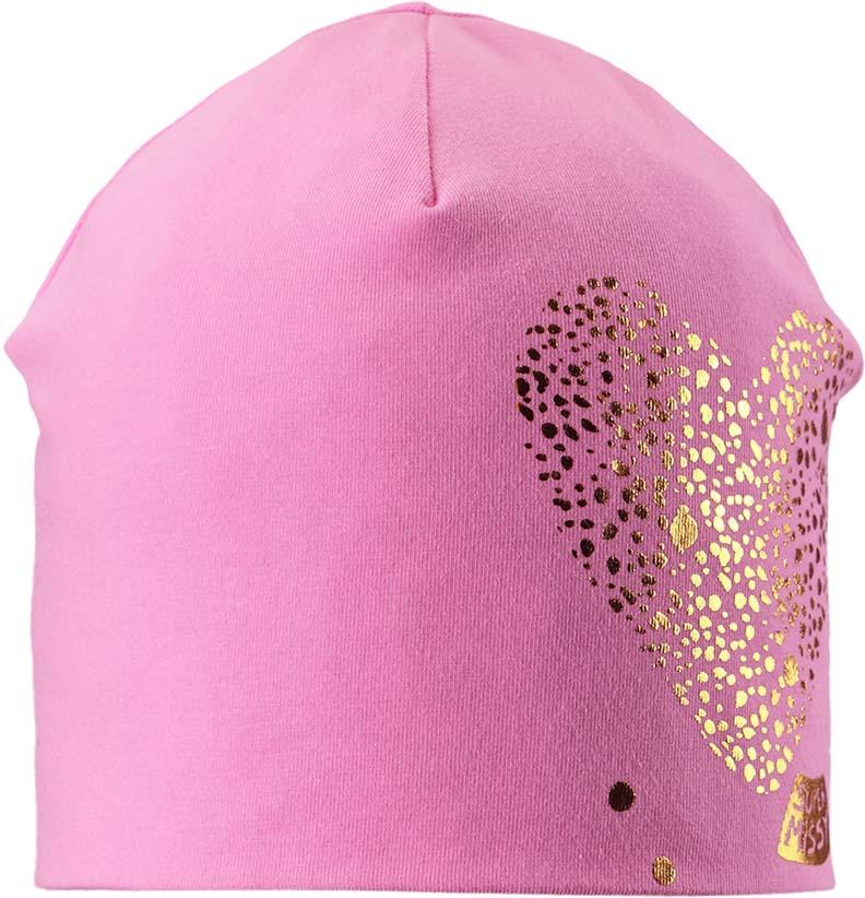 Шапка для девочки Lassie, цвет: розовый. 7287304160. Размер 54/567287304160Удобная трикотажная шапка из эластичного хлопка подойдет на все случаи жизни. Шапка защитит голову и уши от холодного ветра. Модель оформлена принтом в виде сердца.