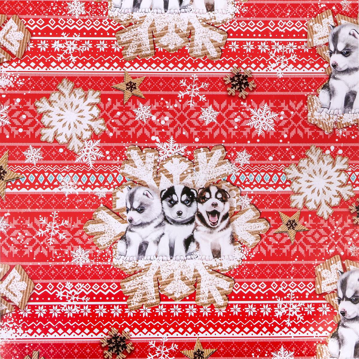 Бумага упаковочная Дарите счастье Новогодние хаски, глянцевая, 70 х 100 см. 25762402576240Все мы хотим, чтобы наш подарок запомнился близкому человеку. Сделать его нарядным и праздничным вам поможет упаковочная бумага. Создайте праздничное настроение с помощью ярких, красочных дизайнов! Дополнить подарок помогут ленты и декор. Дарите счастье в красивой упаковке!